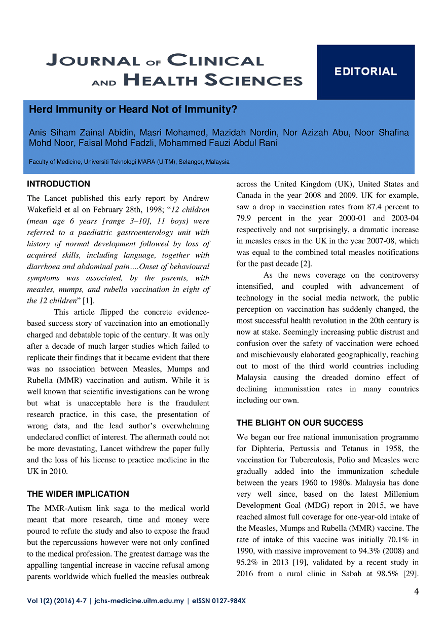 Journal of Clinical and Health Science - Herd Immunity or Heard Not