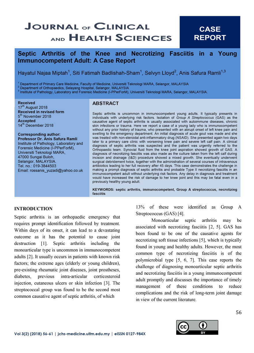 Septic Arthritis of the Knee and Necrotizing Fasciitis in a Young Immunocompetent Adult A Case Report 1